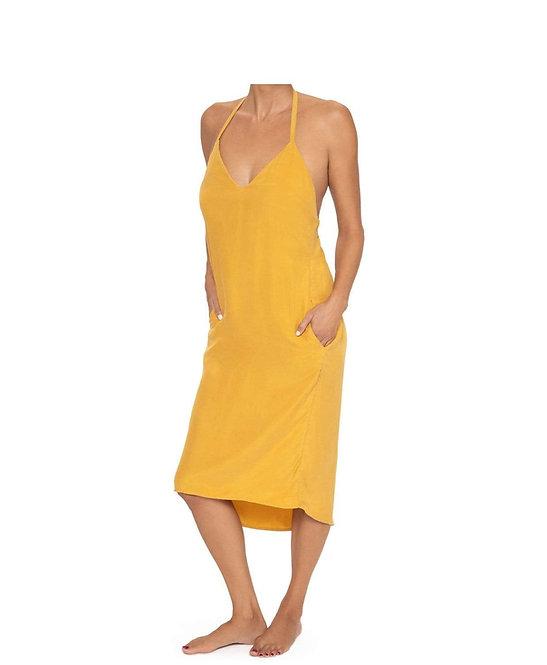 bikini cover ups Marigold Halter Yellow Beach Dress PilyQ