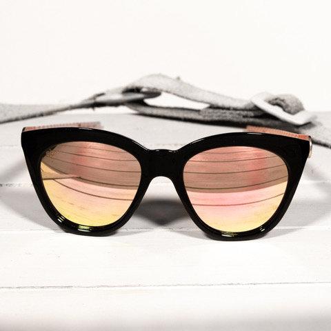 Brass & Unity Betty Black Rose Gold Mirrored Sunglasses