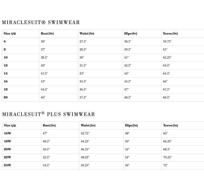 order swimsuits from miraclesuit online at sun vixen swimwear and use this Miraclesuit sizing chart to find your size before placing your order.