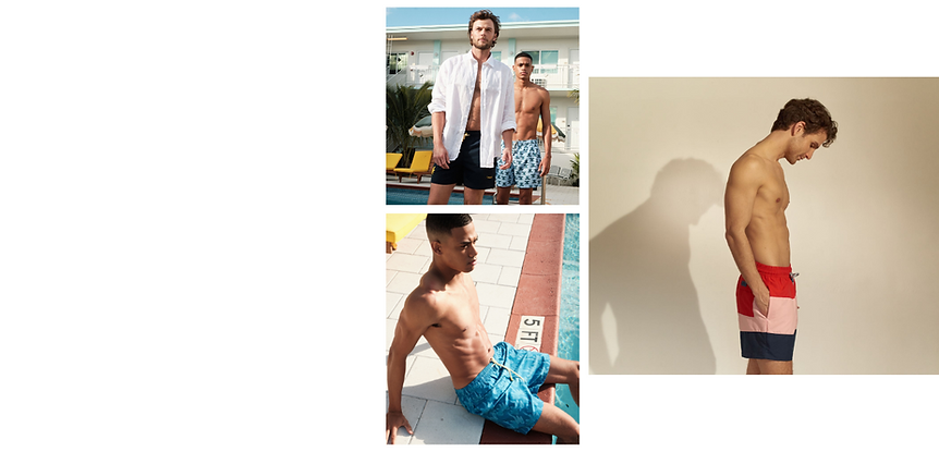 A stylish man from vancouver canada is wearing luxury swim trunks which he bought online from sun vixen swimwear which is an online designer swimwear store for cool swim trunks for men in usa and canada