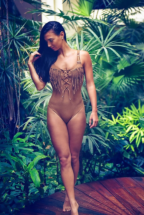 Fringed one piece swimsuit