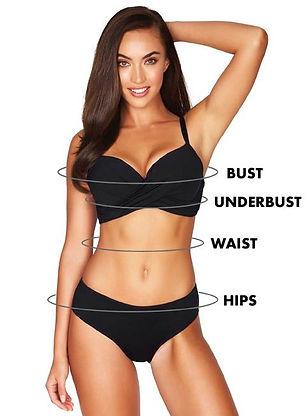 A woman wearing miraclesuit Tummy Control Bikini Bottoms and Push Up Bikini Top which she bought online canada at boutique swimwear store sun vixen swimwear