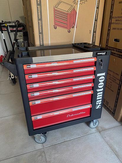 Servante à outils 6 tiroirs/5 tiroirs pleins + placard latéral rouge/noire