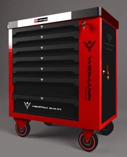 Servante à outils WIDMANN rouge 7 tiroirs 7 remplis + 1 placard + clé dynamo