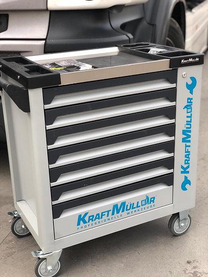 Servante à outils KRAFTMULLER 7 tiroirs pleins + placard latéral grise / bleu