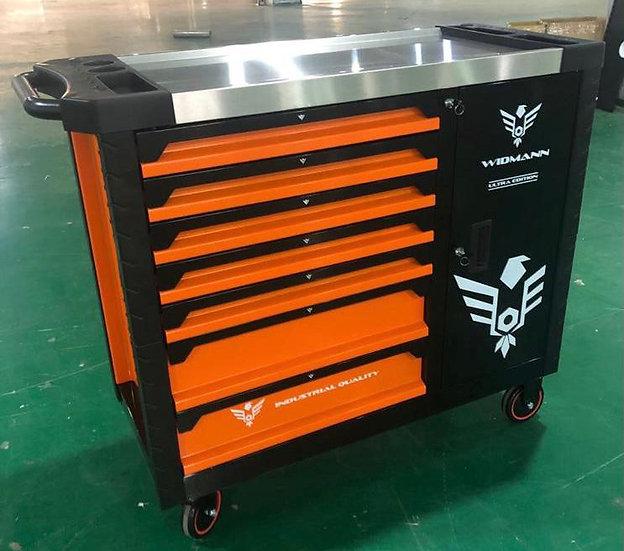 Servante Widmann orange KINGSIZE XXL ultra édition avec 7 tiroirs + placard