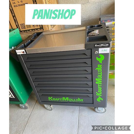 Servante à outils KRAFTMULLER 7 tiroirs pleins + placard noir mat / vert