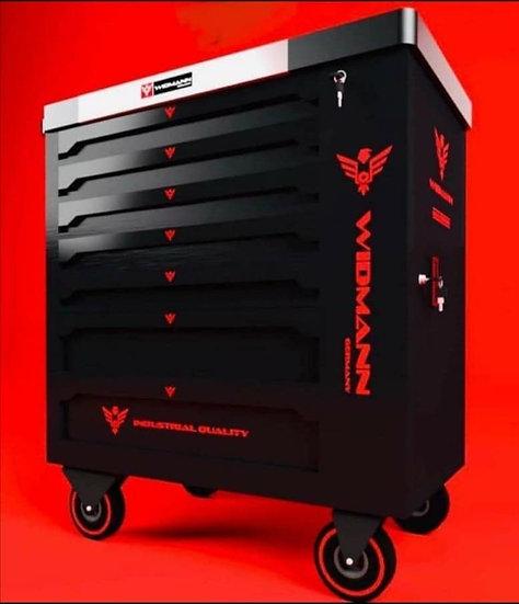 Servante à outils WIDMANN  noire 7 tiroirs 7 remplis + 1 placard