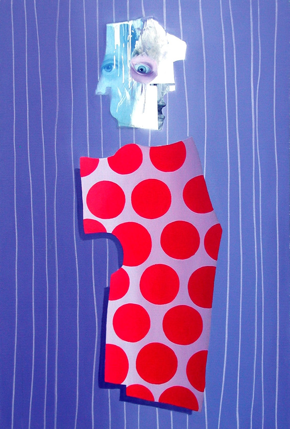 FIGURE WITH PURPLE AND WHITE DRIPS