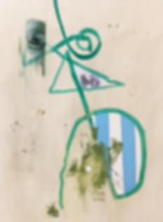 Untitled Marker Portrait wit Two Blue Li