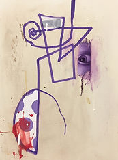 Untitled Marker Portrait with Purple Pai