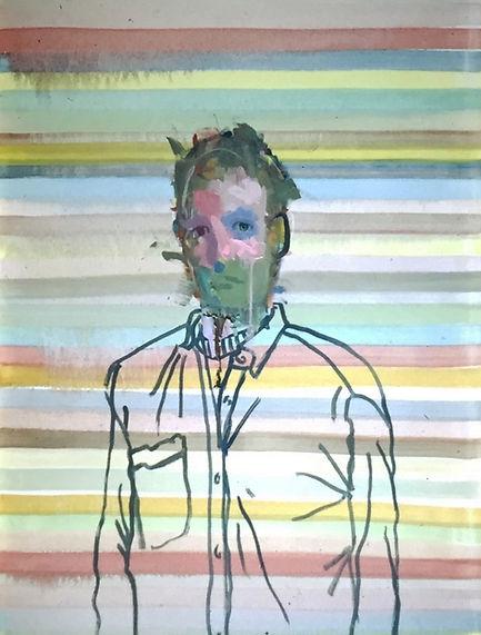 Imaginary Portrait with Stripes, 36 x 48