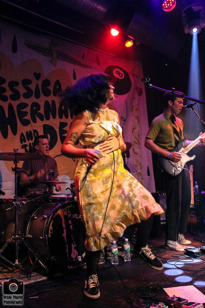 Jessica Hernandez & The Deltas dancing on stage. Rickshaw Stop, San Francisco.