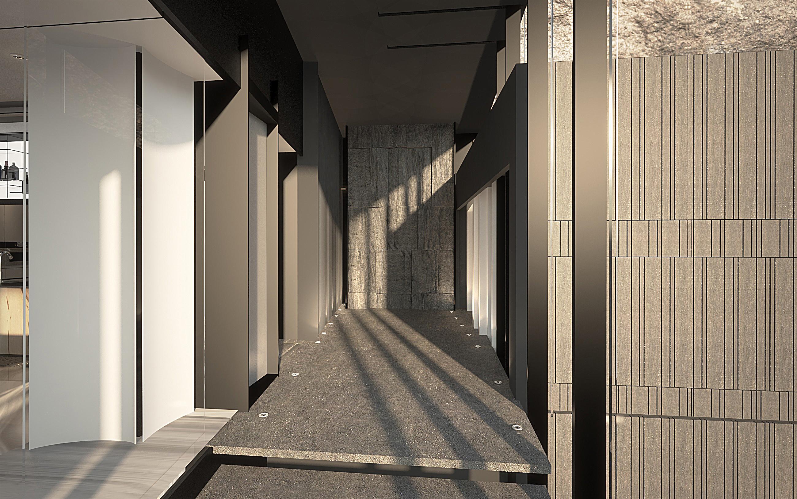 外部梯廳走道造型牆