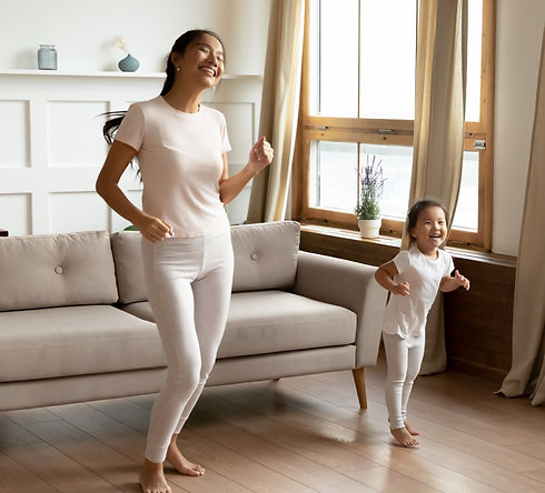Mother & Daughter Dancing to music