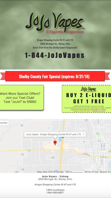 JoJo Vapes Landing Page