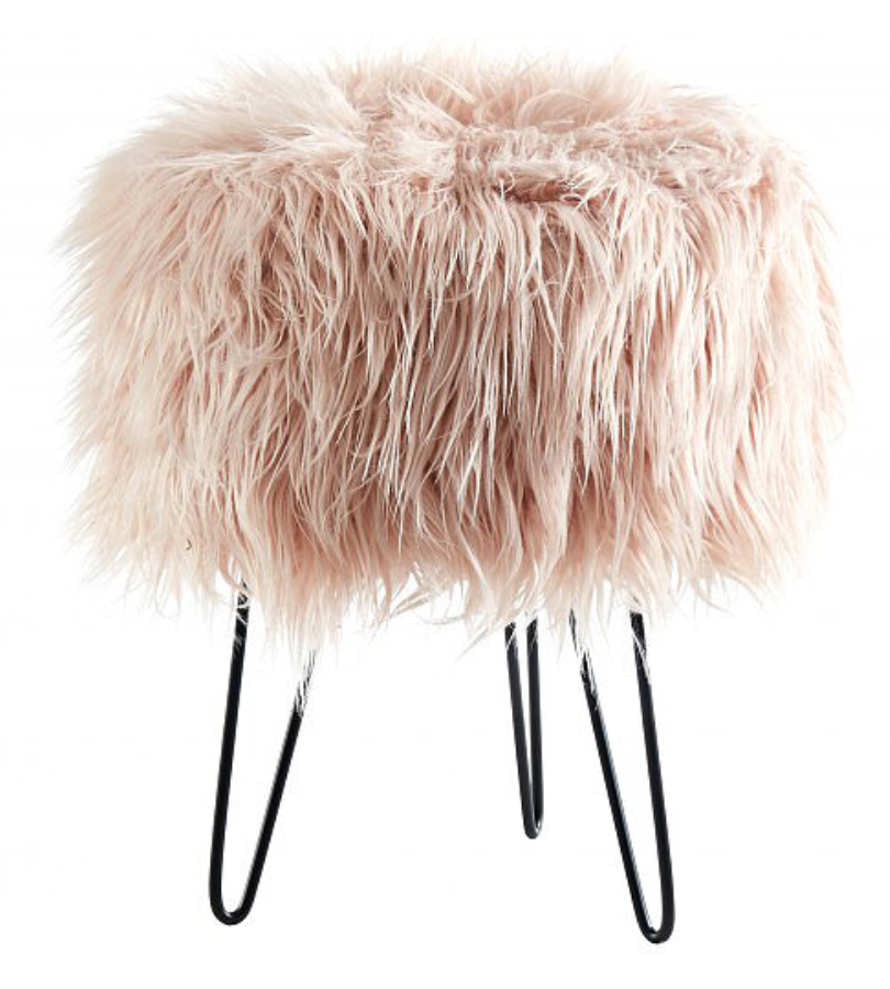Furry Round Ottomon Chair