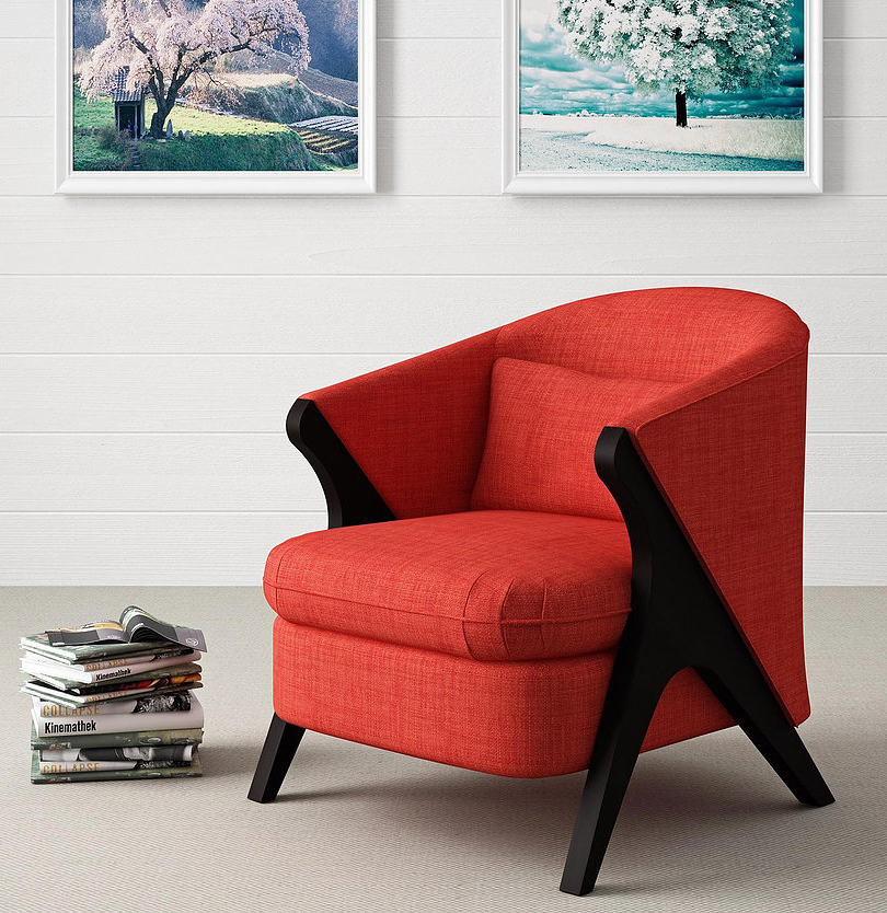 Fabric & Wood Accent Chair