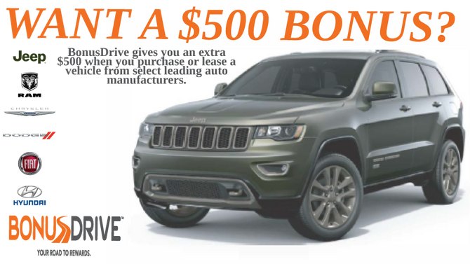 Get Your $500 Cash Back Bonus From BonusDrive -  Brought to you by Allstate!