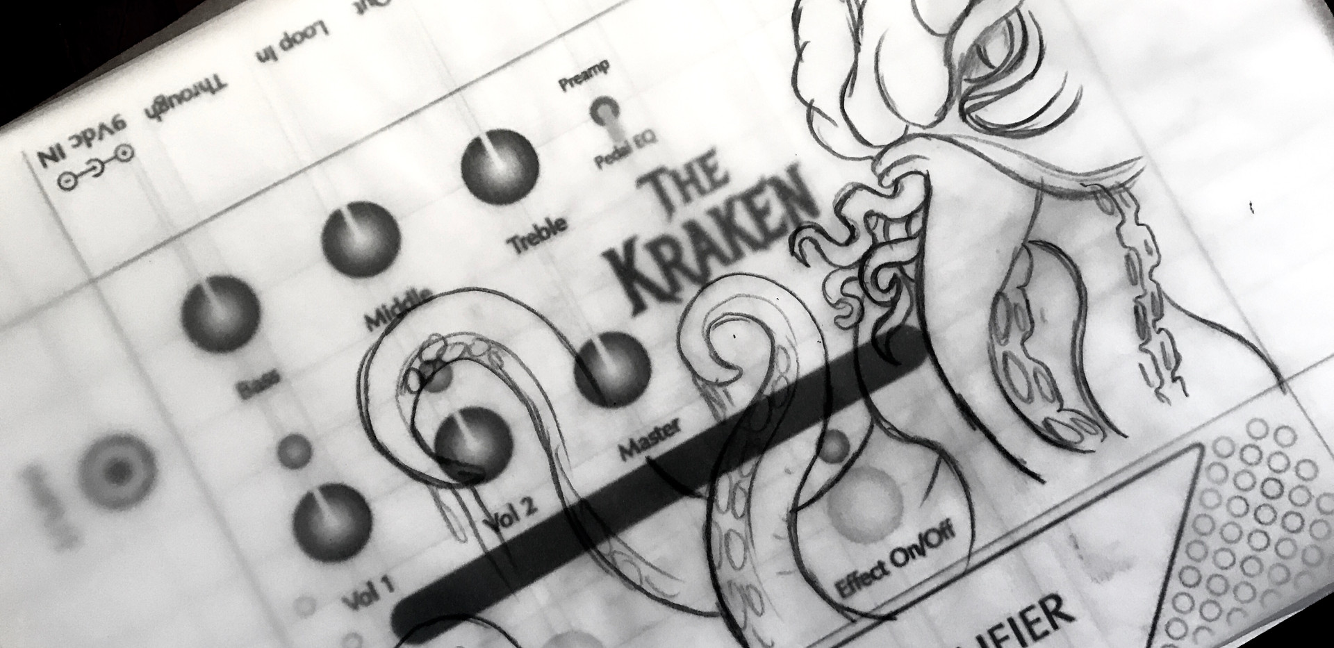Victory V4 The Kraken Pedal Artwork In Progress at Early Stage