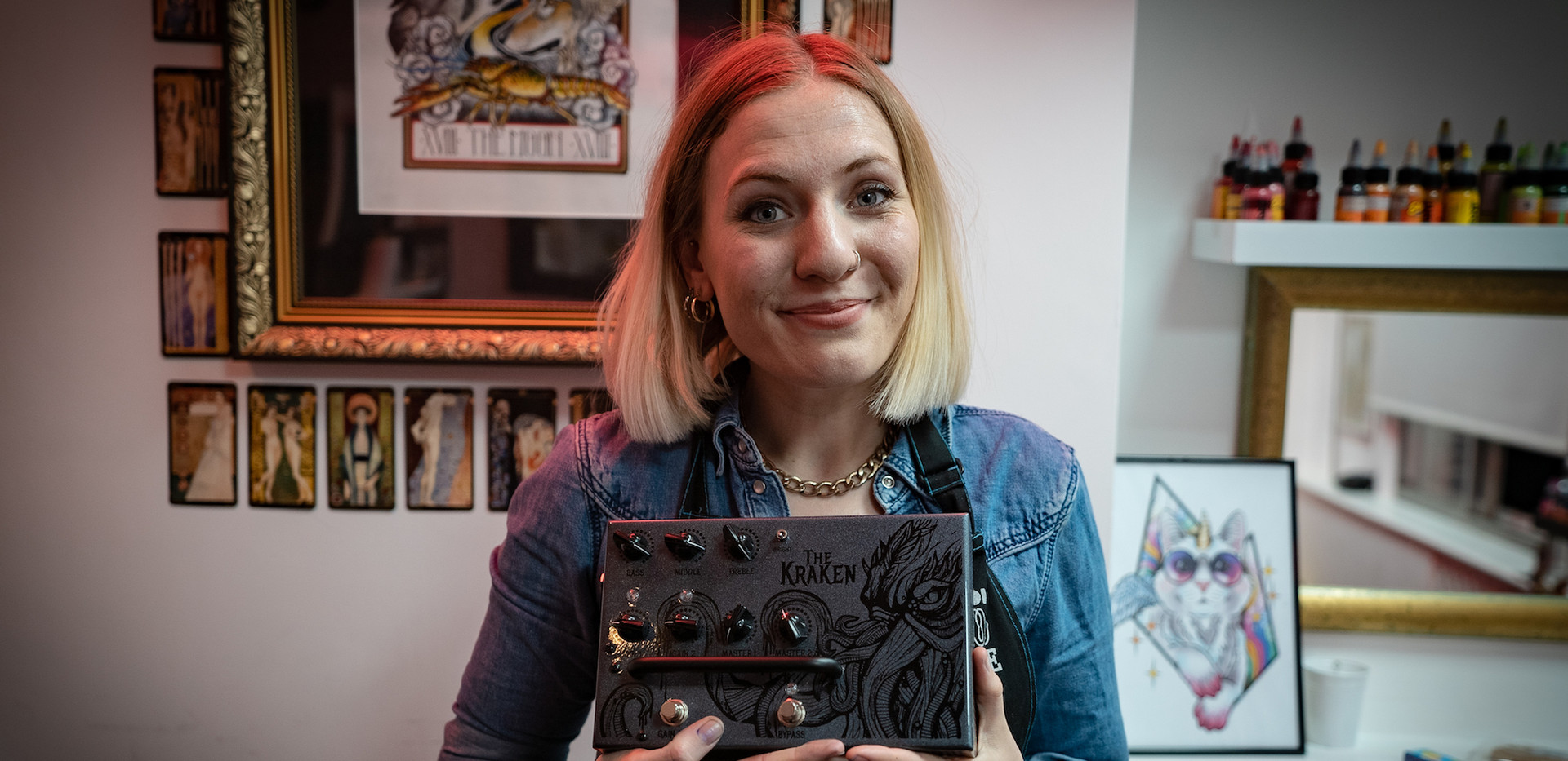 Esme Baker Tattoo Artist with the Victory V4 The Kraken Pedal Preamp