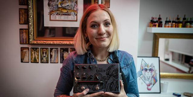 Esme Baker Tattoo Artist with the Victory V4 The Kraken Pedal Preamp