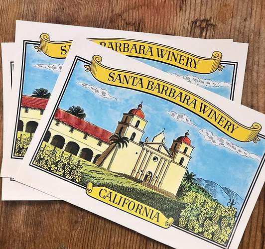 Vintage Santa Barbara Winery labels featuring the Santa Barbara Mission