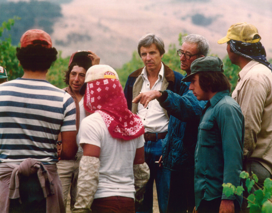 Pierre meeting with the vineyard staff