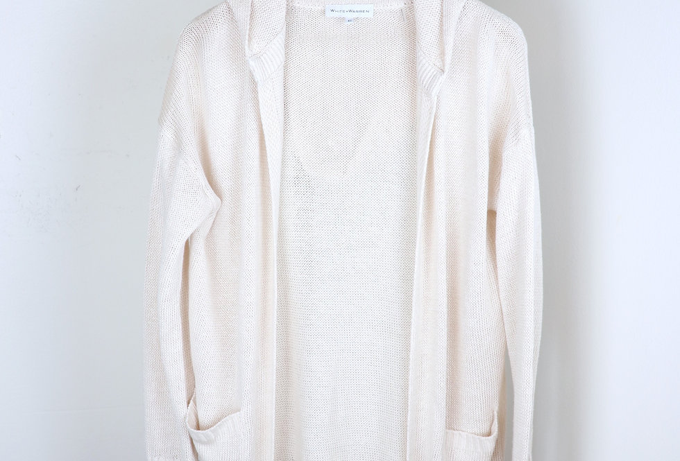 White and Warren Hooded Linen Cardigan