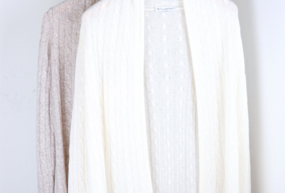 White and Warren Cable Knit Cardigan