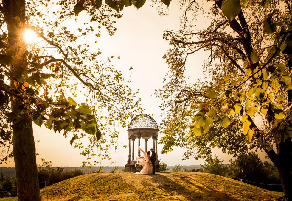 Foto di matrimonio in autunno Villa Caproni Malpensa
