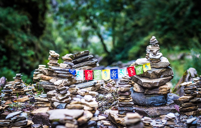 Prayer flags and cairn