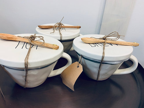 MudPie Tea Mugs with Spoon and Plate