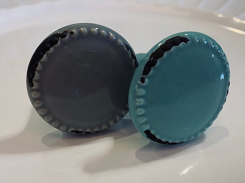 Grey and Turquoise Drawer Pulls