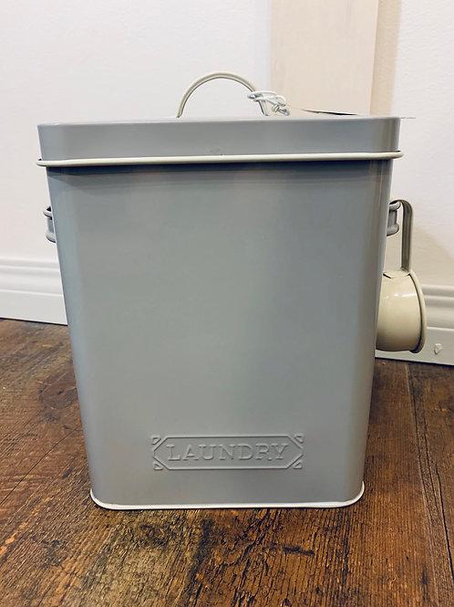 Grey Tin Laundry Soap Bucket