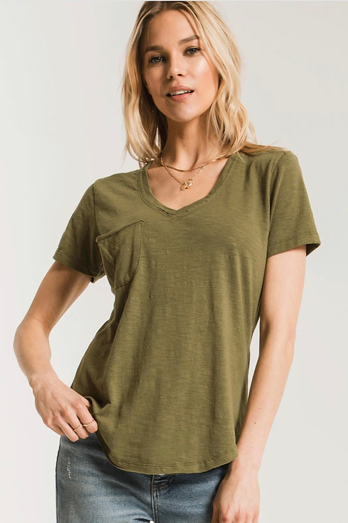 Z Supply Airy Slub Pocket Tee Olive