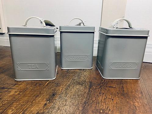 Grey Tin canister set