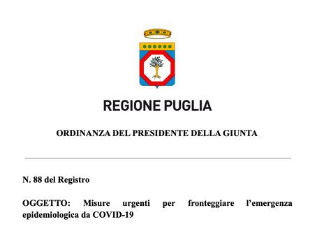 Nuove disposizioni in Puglia dal 27 Marzo al 6 Aprile - Ordinanza n.88 del Registro