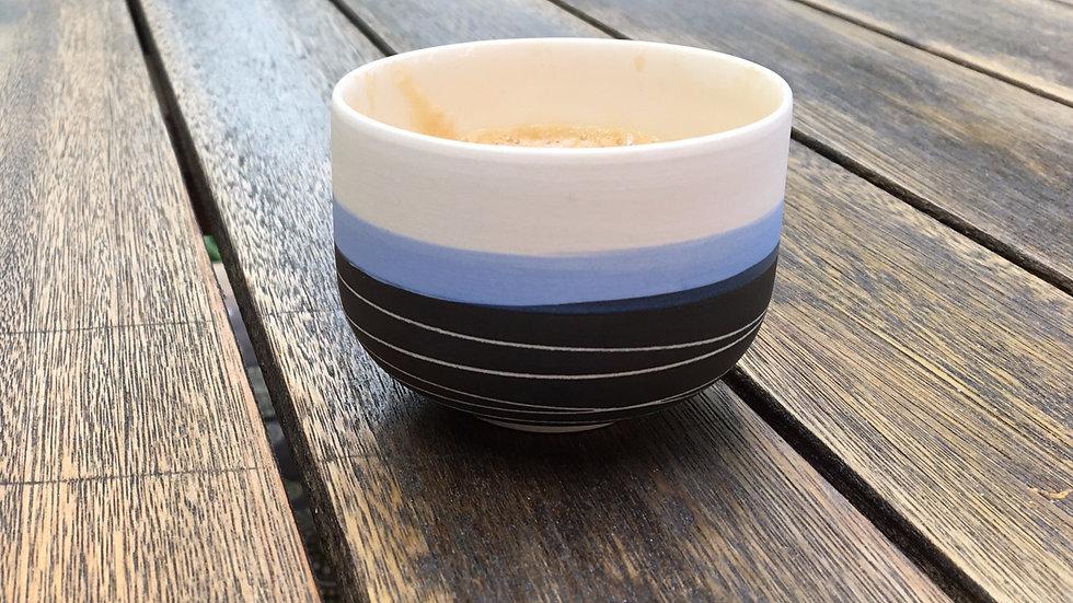 Tasse expresso noir/bleu