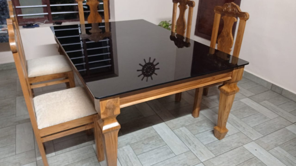 Dining Table with 6 chairs(Teakwood)