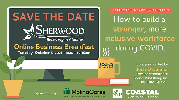 Invite to Sherwoods Online Business Breakfast on October 5, 2021 at 9:30am.