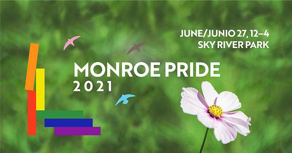 Monroe Pride image with pink flower.
