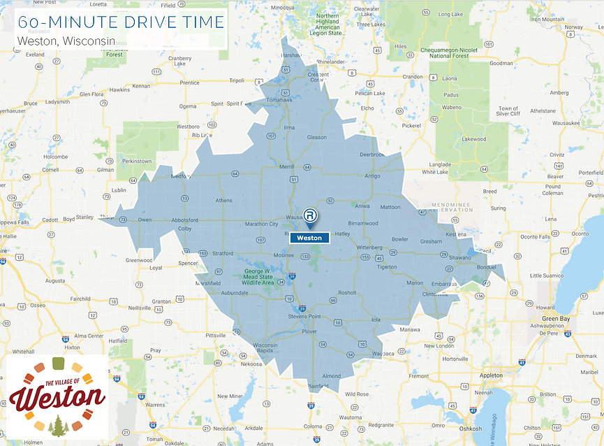 Map highlighting the 60 minute drive time area around Weston
