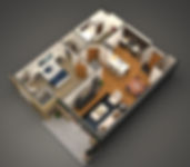 3D furnished concept rendering of a sample unit