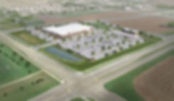 Aerial rendering of Hy-Vee grocery store and adjacent convenience store at the corner of Woodland Drive and CTH Q