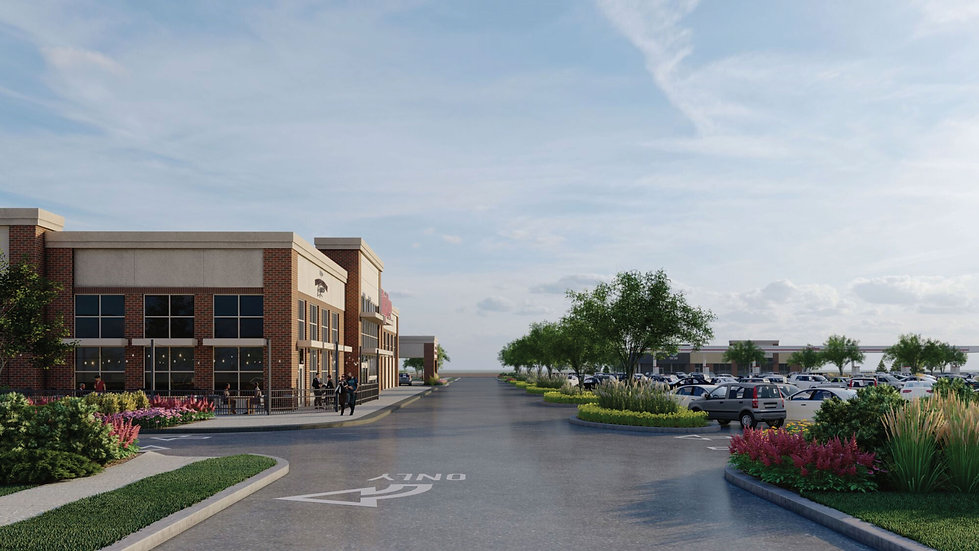 3D rendering of Hy-Vee Market Grille and store entrance