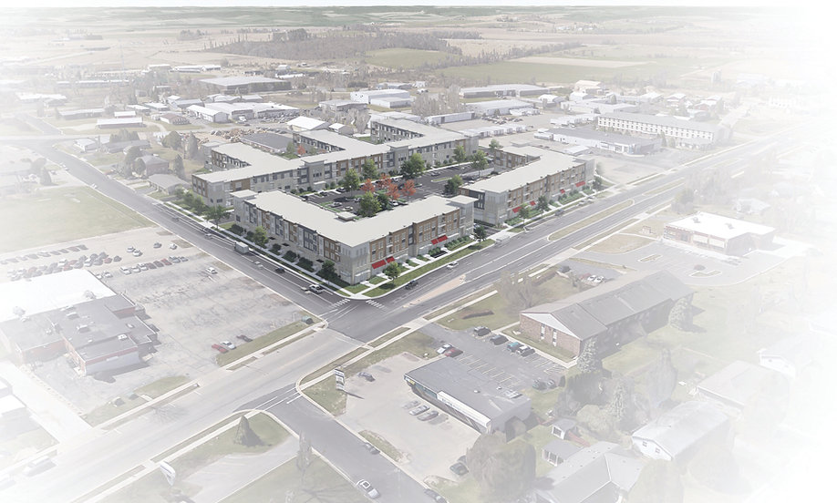 3D aerial of the development buildings from the corner of Legion Street and West Verona Avenue