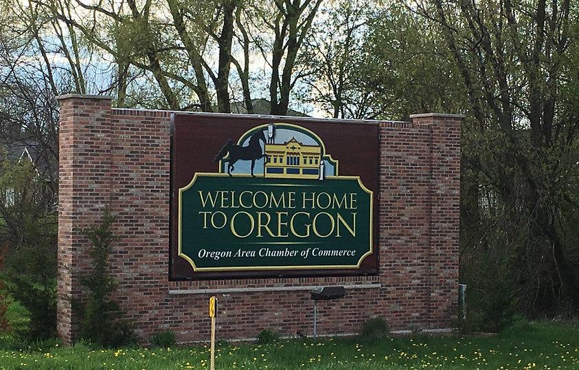 Village of Oregon brick welcome sign