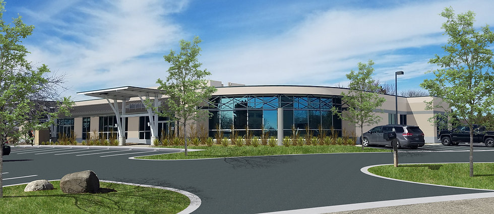 Exterior rendering of a newly renovaed 1 story professional office building