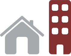 House and tall building icon